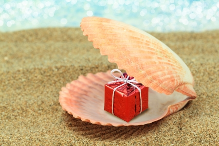 new ideas: Gift box in a sea shell on the beach Stock Photo