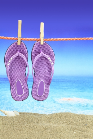Flip-Flop with seascape on the background photo