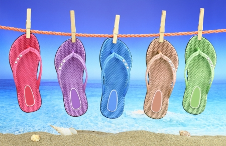 flops: Colorful Flip-Flop with seascape on the background Stock Photo