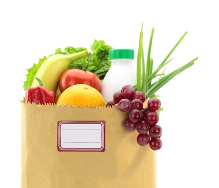 Fresh food in a paper bag with blank label photo