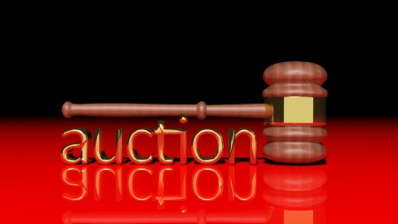 bidder: Auction concept with wooden gavel Stock Photo