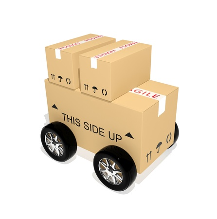 Shipping cardboard boxes with wheels  photo