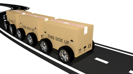 Shipping cardboard on the road  photo