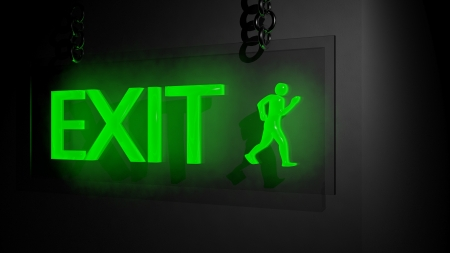 building fire: Exit sign