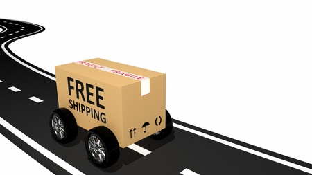 Free shipping cardboard on the road  photo