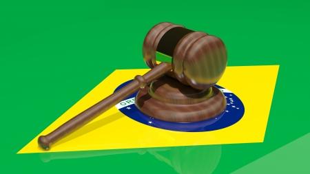 brazilian flag: Gavel on the flag of Brazil