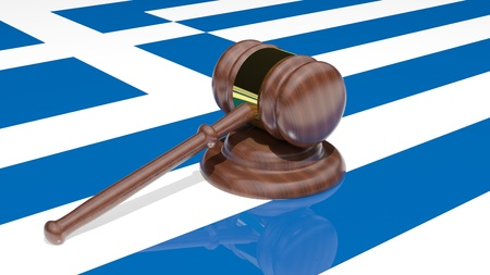 Gavel on the flag of Greece Stock Photo - 15545014