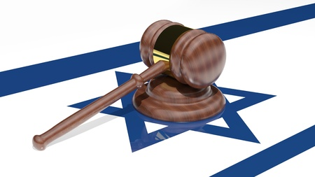 Gavel on the flag of Israel Stock Photo - 15544971