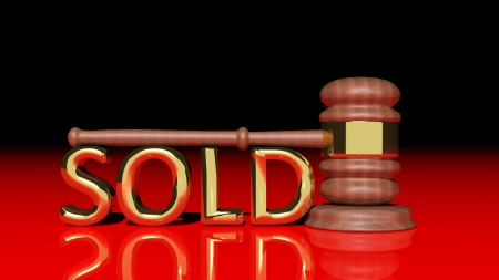 Auction concept with wooden gavel Stock Photo