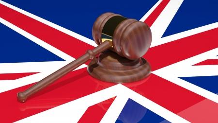 Gavel on the flag of united kingdom Stock Photo - 15545009