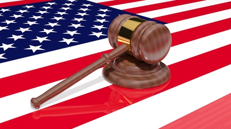 auctioneer: Gavel on the flag of America