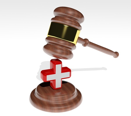 3d Judge's gavel with health cross  photo