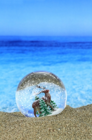 merry time: Christmas Snow globe on the beach  Stock Photo