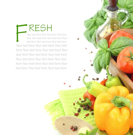greek chef: Fresh vegetables on white background with copy space Stock Photo