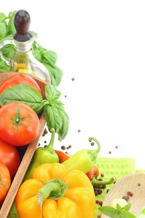 Fresh vegetables on white background with copy space Stock Photo - 15545031