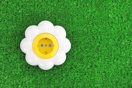 Alternative energy concept. Flower electrical outlet on grass photo