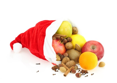 dietitian: Christmas Fruits in Santa Claus hat