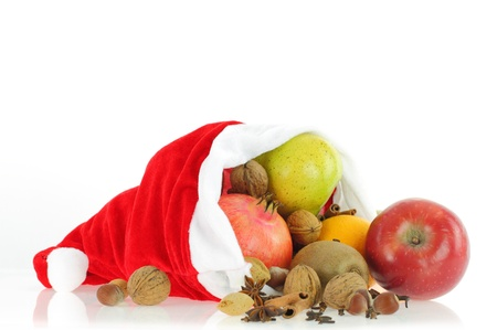 apple christmas: Christmas Fruits in Santa Claus hat