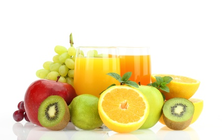 mixed colors: Fresh fruits and juice