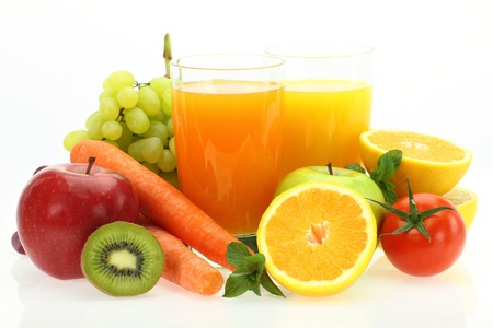 mixed vegetables: Fresh fruits, vegetables and juice