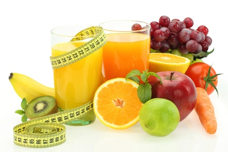 Diet and nutrition. Fresh fruits, vegetables and juice Stock Photo