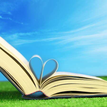 Book pages folded into a heart shape on the grass