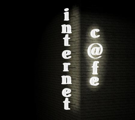 internet cafe: Internet cafe sign
