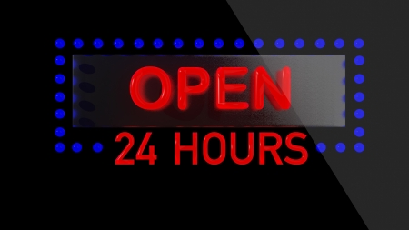 opening hours: Open sign