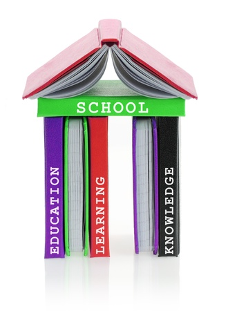 bibliography: School building made of books Stock Photo