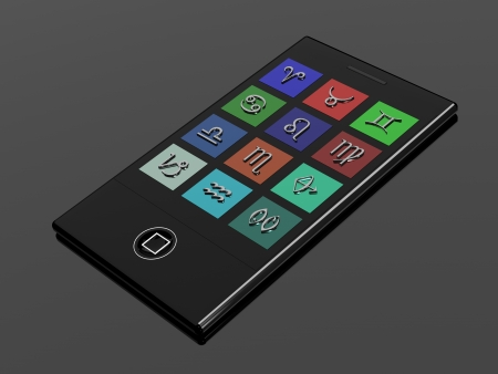 3D touchscreen mobile phone with zodiac signs photo