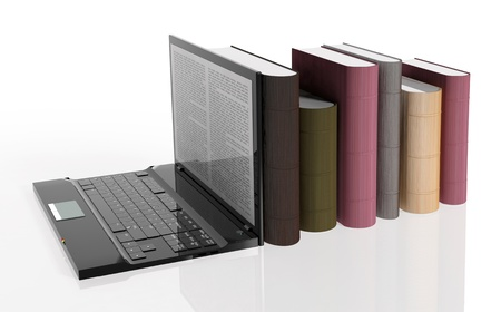 tablet pc in hand: Digital library