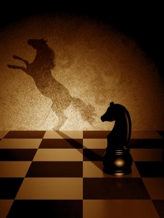chess knight: Caballo negro con una sombra del arte como un caballo salvaje Foto de archivo