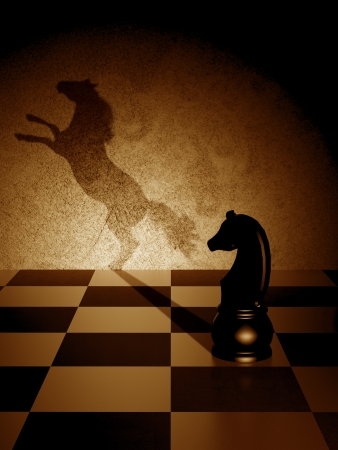 ajedrez: Caballo negro con una sombra del arte como un caballo salvaje Foto de archivo