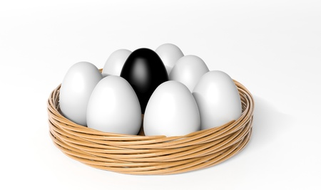 all in one: Black egg among white eggs in the basket