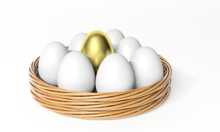 among: Gold egg among white eggs in the basket