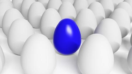 consuetude: Blue Easter egg among white eggs  Stock Photo