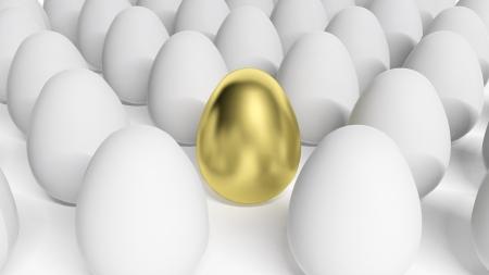 Gold egg among white eggs