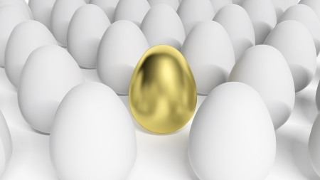 different concept: Gold egg among white eggs