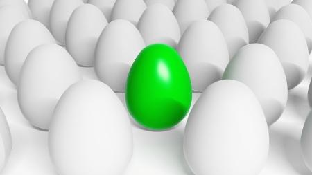 Green Easter egg among white eggs