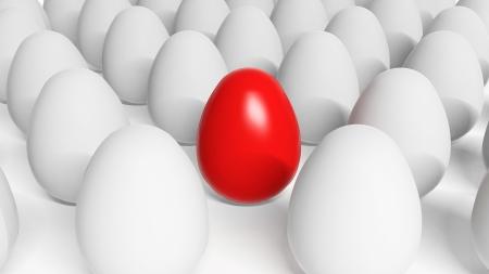 Red Easter egg among white eggs