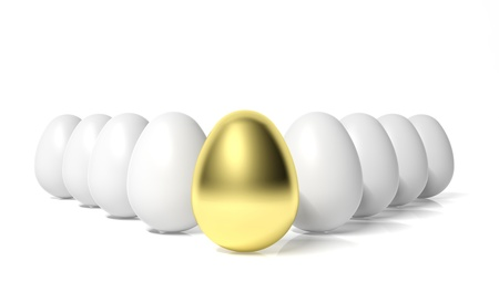 contrasts: Gold egg in front of white eggs  Stock Photo