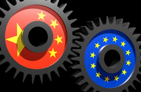 Two gears with the flags of China and European union  Stock Photo - 15962167