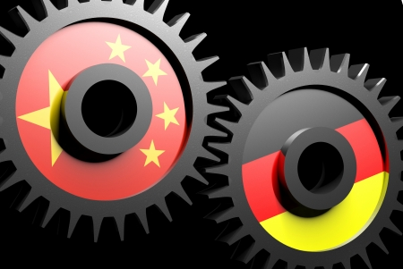 Two gears with the flags of china and Germany  photo