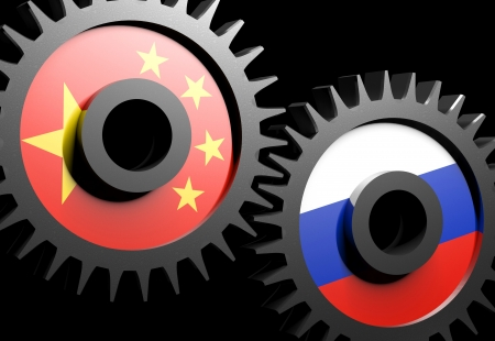 Two gears with the flags of China and Russia  Stock Photo - 15962204
