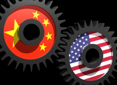 Two gears with the flags of China and USA Stock Photo - 15962156