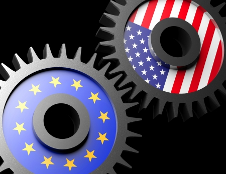 Two gears with the flags of usa and European union  Stock Photo - 15962183