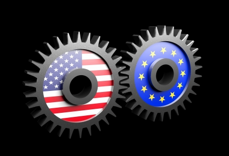 Two gears with the flags of usa and European union Stock Photo - 15962157