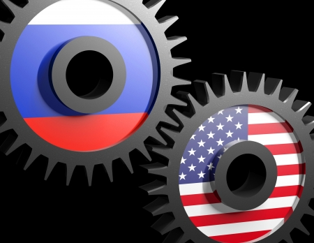 Two gears with the flags of usa and Russia  Stock Photo - 15962200