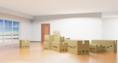 relocation: Home interior with cardboard boxes