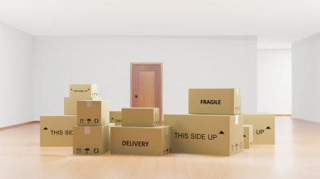 moving truck: Home interior with cardboard boxes